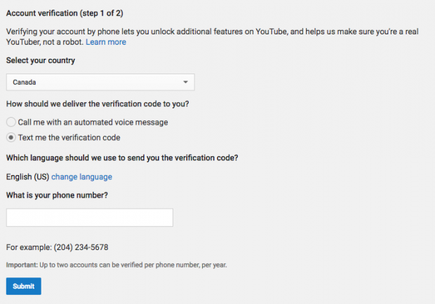YouTube verification page