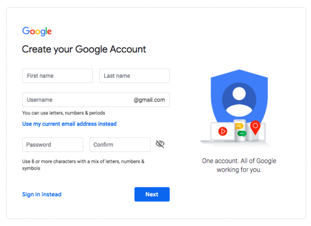 Google account creation page