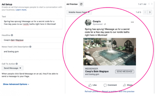 """click-to-messenger ad for """"Coop's Bain Magique"""""""