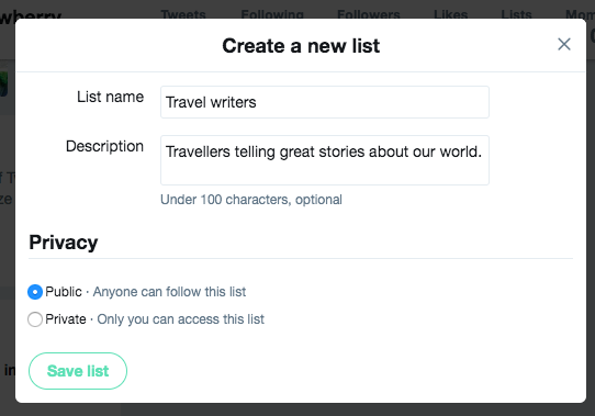 How to create a Twitter list