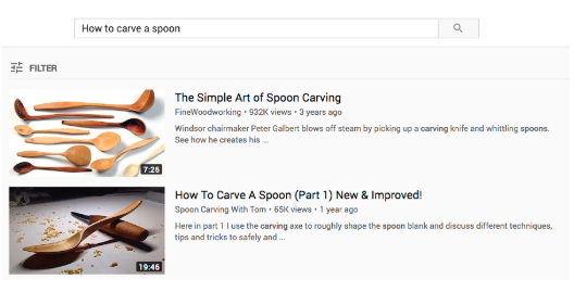 youtube video descriptions for spoon carving