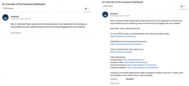 youtube video descriptions for Hootsuite