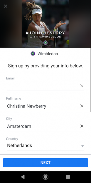 Wimbledon Facebook lead generation ad 2