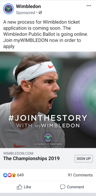 Wimbledon Facebook lead generation ad 3