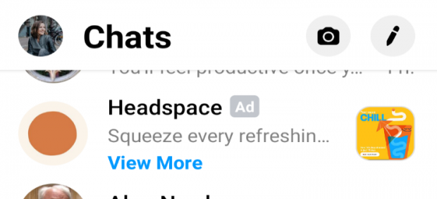 Headspace Facebook Messenger ad