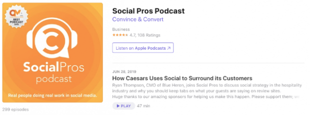 Social Pros Podcast with Jay Baer and Adam Brown in app store