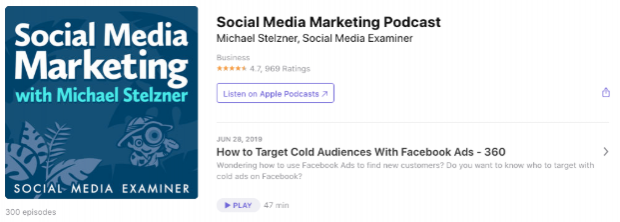 Social Media Marketing with Michael Stelzner app