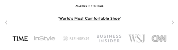 Section of Allbird's website that shows which media outlets they've been featured in