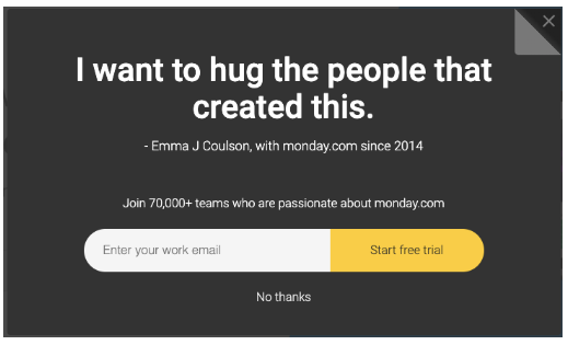"""Testimonial for Monday.com's email newsletter sign up: """"I want to hug the people that created this"""""""