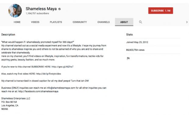 Shameless Maya YouTube video description
