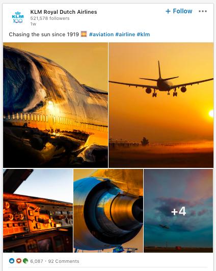 KLM LinkedIn post using aviation hashtag