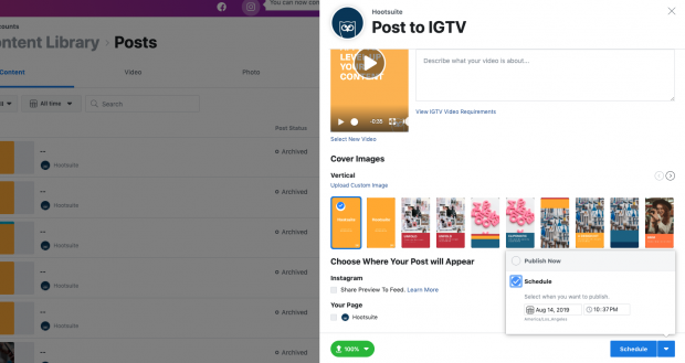 how to schedule IGTV videos step 9