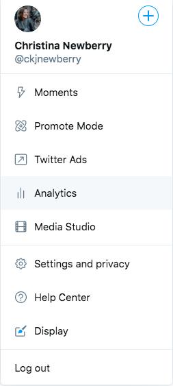 Twitter menu