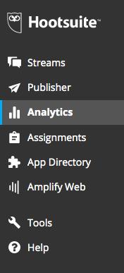 Hootsuite analytics menu