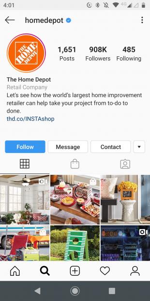 Home Depot Instagram Profile