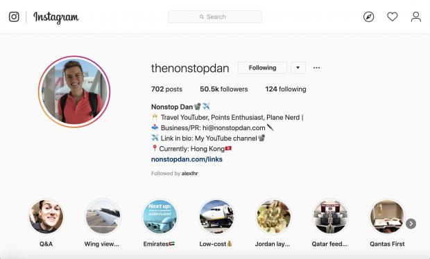 Nonstop Dan Instagram profile
