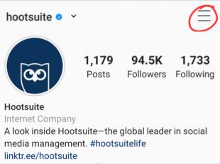 Instagram menu