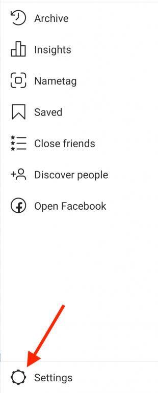 Instagram settings menu