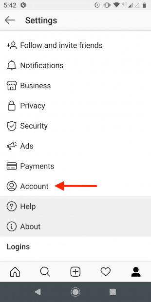 "Instagram Settings menu with ""Account"" highlighted"