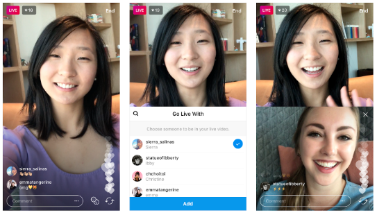 3 screenshots of an Instagram Live showing young woman 1) broadcasting with many hearts appearing in bottom right corner of screen, 2) young woman choosing a person to add to her broadcast, 3) split screen featuring 2 young woman broadcasting at once