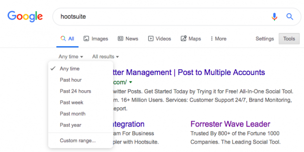 Button to filter Google search results by date