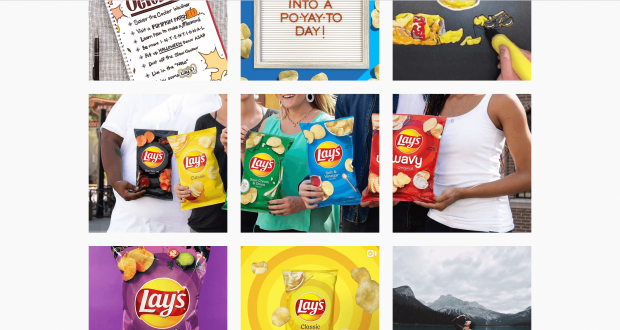 Lays Instagram grid with a large photo of three friends enjoying chips split into 3 separate images
