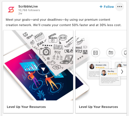 LinkedIn carousel post featuring one large image of a phone divided in two (by the carousel). Text says: Meet your goals—and your deadlines—by using our premium content creation network. We'll create your content 50% faster and at 30% less cost.