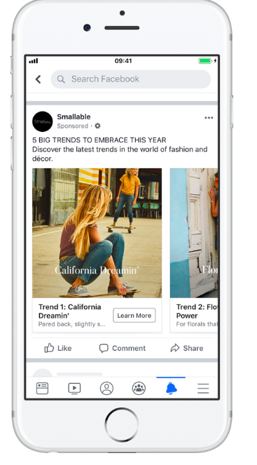 Facebook dynamic ad from Smallable