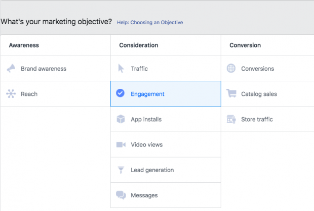Option to choose your ad objective on Facebook