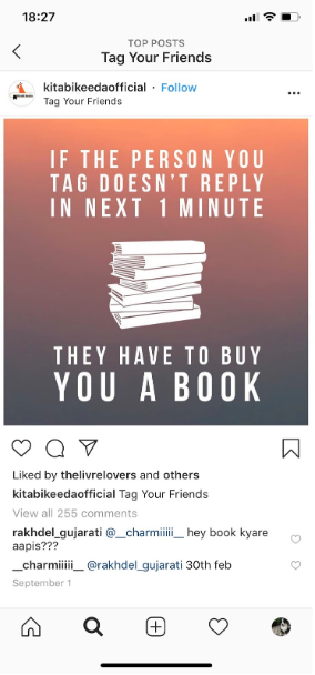 "Instagram post from @kitabikeedaofficial advertising a contest where the rule is ""if the person you tag doesn't reply in one minute, they have to buy you a book"""
