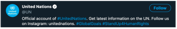 United Nations Twitter bio, which advertises their Instagram handle