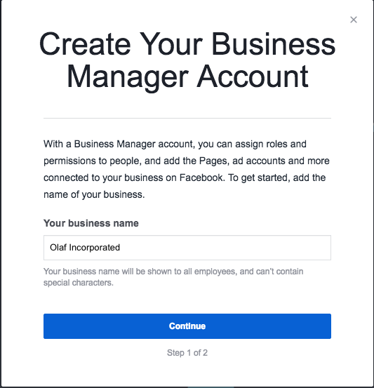"Create your Business Manager Account prompt including ""Your business name"" field"