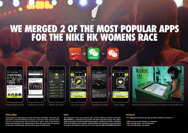 6 screenshots of the Nike HK training app in WeChat