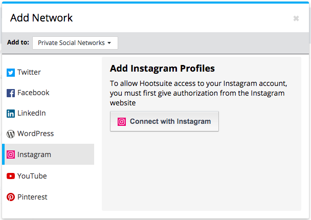 Screenshot of the option to add an Instagram profile to Hootsuite