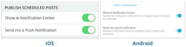 Screenshot of option to turn on notifications for Hootsuite on iOS and Android