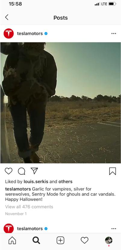 Screenshot of Tesla Halloween video