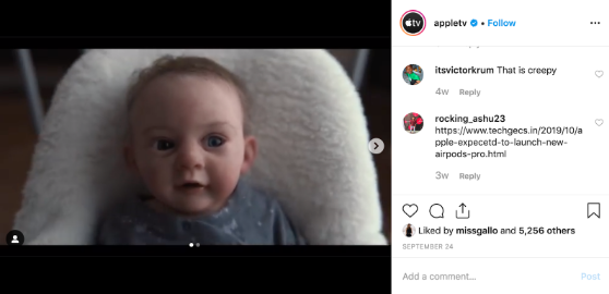 Instagram feed video from Apple TV that starts with a shot of a cute baby