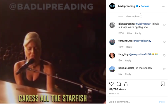 Instagram feed video of Lady Gaga playing piano with subtitles (but the subtitles are wrong)
