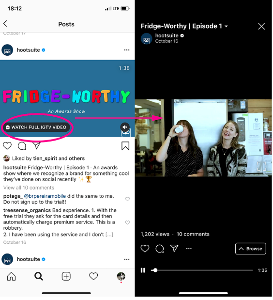 """Screenshot of Instagram feed video by Hootsuite highlighting the """"watch full IGTV video"""" prompt"""