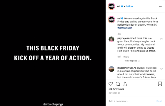 """REI Instagram feed video screenshot, text says """"This Black Friday kick off a year of action"""""""