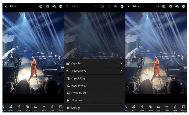 3 screens showing steps of applying the Instagram preset to a photo of Celine Dion