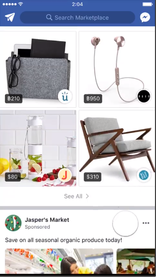 Screenshot of a Facebook Marketplace video ad