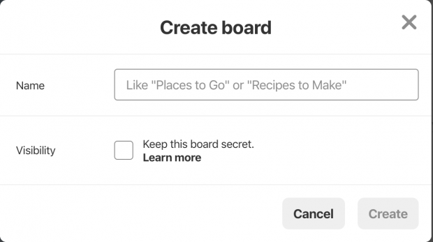 """""""Create board"""" page on Pinterest business profile, including """"Name"""" and """"Visibility"""" fields"""