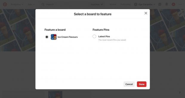 """""""Select a board to feature"""" prompt on Pinterest business profile"""