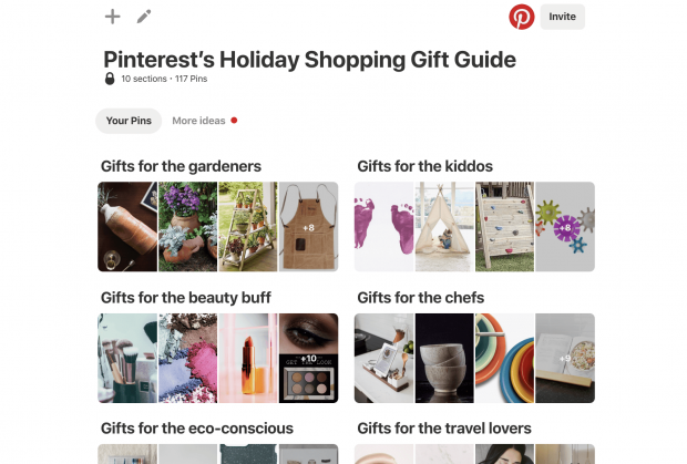 Pinterest's Holiday Shopping Gift Guide board