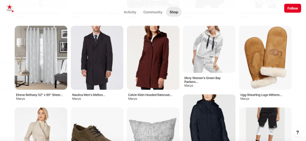 Macy's shop tab with 10 Pins of various clothing items