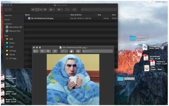 misc folder on author's desktop, containing a meme of Kylo Ren wearing a blanket