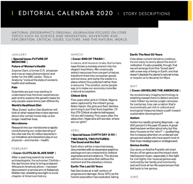 National Geographic editorial calendar 2020