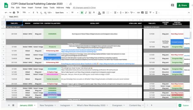 social media content calendar by Hootsuite