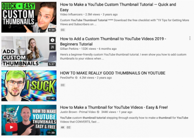 A selection of 4 YouTube video thumbnails, all of which have large text, bright colors, and closeups of a person's face